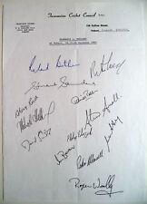 TASMANIA v ENGLAND 1982-83 ASHES TOUR MATCH OFFICIAL CRICKET AUTOGRAPH SHEET