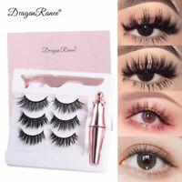 3Pairs Magnetic False Eyelashes Eye Lashes Extension Liquid Eyeliner + Tweezer m