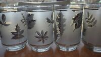 Flat Tumblers glasses Silver Leaf by LIBBEY GLASS COMPANY 4 12oz to BRIM EUC