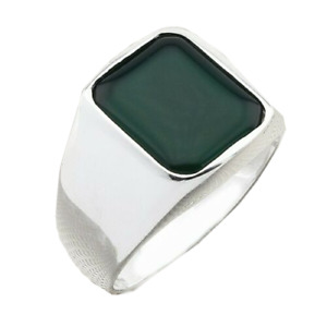 Mens Silver Ring with Green Agate Stone in 925 Sterling Turkish Handmade Jewelry