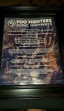 Foo Fighters Sonic Highways Rare Original Promo Poster Ad Framed!