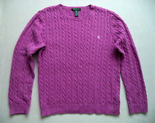 Womens RALPH LAUREN cable knit sweater Sz XL top jersey ski snowboard rib