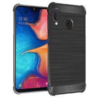 Coque Etui Silicone Souple Fibre Carbone Brossé Samsung Galaxy A20E/ A20e Dual