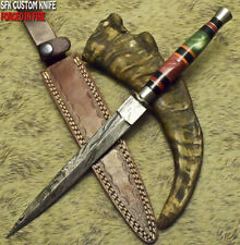 SFK CUTLERY RARE CUSTOM HANDMADE DAMASCUS ART HUNTING BOOT DAGGER KNIFE CAMEL BO