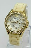 Ladies FOSSIL Riley Gold Tone Multifunction Watch, Crystal Accents, White ES2348