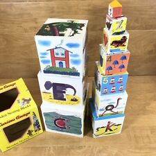 VTG CURIOUS GEORGE Wooden Nesting Blocks Alphabet Numbers with Box (Please Read)