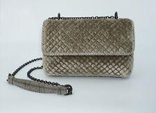 00a5e792501 Bottega Veneta Olimpia Intrecciato Quilted Velvet Shoulder Bag,Mist, MSRP   1,800