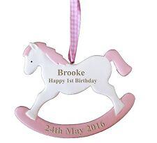Baby Girl's 1st Birthday Personalied Engraved Rocking Horse Keepsake Gift