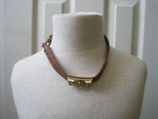 #~Brown Leather Choker Necklace w/Gold Spikes~LBDLB