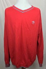 Retro Adidas Trefoil Logo V-Neck Pullover Sweater Elbow Patches Red Men's Sz XL