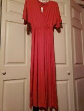 New GAP Women's Maxi Dress Short Sleeve, Coral, Size XS