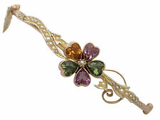 Amatista, Citrino, Turmalina Y Semillas perla, 9 Ct Oro Amarillo Brazalete-Antiguo