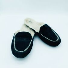 UGG Lane Slippers Black Suede Shearling Slip On Scuffs size 8