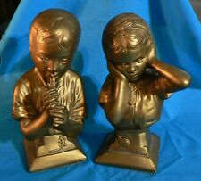VINTAGE PETER PIPER AND GIRL HOLDING EARS STATUE FIGURINE BOOK ENDS BUST ESCO