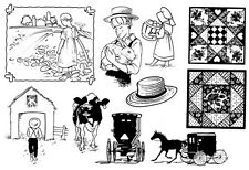 Unmounted Rubber Stamps Sheets, Amish, Children, Quilting, Horse & Buggy, Farm