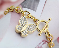 18K Gold Filled Women's Crystal Butterfly Pendant Solid Chain Charm Bracelet 8''
