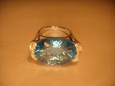 Fabulous Estate Bold 14K White Gold Huge Blue Topaz Diamond Ring