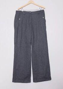 White Stuff Grey Striped Wool Blend Trousers Size 10R