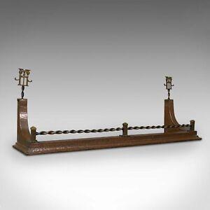 Antique Arts & Crafts Fire Fender, Scottish, Copper, Fireside Kerb, Victorian