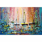 SUNRISE Original Painting Inspired by Pollock Boats Sunset on the Lake Art