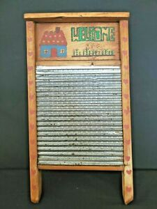 """Vintage """"Welcome"""" Rustic Wood and Metal Washboard Indoor Outdoor Lawn Decoration"""