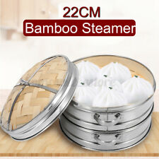 2 Tiers Bamboo Steamer Kitchen Cookware Basket Cooker Set Stainless Steel Usa