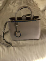 Fendi Shopping 2Jours Petite Tote (Grey; Calfskin Leather)