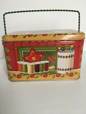 """Vintage """"Button"""" Cookies Tin Sewing Thread Tin with Handle"""