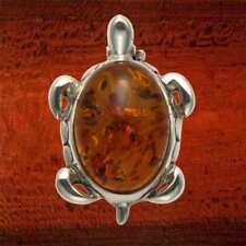 Sterling Silver Turtle/Tortoise Pin w/Amber Body - PN100