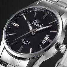 Luxury Mens Black Dial Stainless Steel Date Quartz Analog Sport Wrist Watch Gift