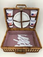 4 Person Wicker Picnic Basket Hamper with Plates Cups and Utensiles