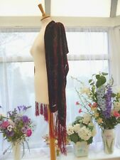 STUNNING UNBRANDED RED PAISLEY FRINGE DEVORE SILK VELVET MIX EVENING SHAWL WRAP