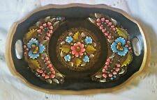 Antique Wooden HandPainted Oval Toleware Tray w/ Handles Bright Colors Gold Trim
