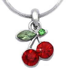 Small Red Cherry Fruit Pendant Necklace Girl Teen Women Fashion Jewelry n7rd