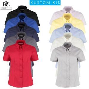 Womens Ladies Blouse Short Sleeve Shirt Office Work Formal Smart Plus Sizes 8-28