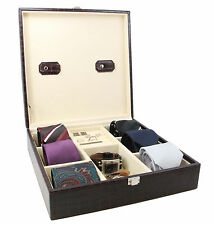 Executive Handcrafted Crocodile Leather Tie Box  Cufflink Storage Box men gift