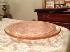 "Glorious Vintage Pink Depression Glass Daisy Pattern 10"" 3-Footed Cake Plate"