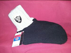 VINTAGE TEAM NFL FOOTBALL OAKLAND RAIDERS ADULT KNIT SOCK/BOOTIES NEW WITH TAG