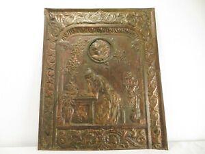 Antique VICTORIAN LADY FIREPLACE SUMMER SCREEN COVER Cherub HAMMERED METAL Art