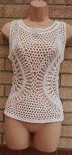 PRIMARK KNIT KNITTED CROCHET LACE BEACH TUNIC TOP BLOUSE CAMI VEST SHIRT 8 10 S