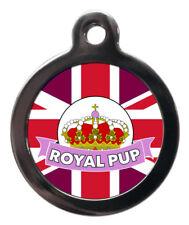 Cute Custom Pet Tags Pink Royal Pup Pet ID Tag Dog Name Disc For Collar