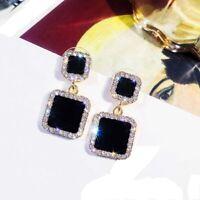 For Women Black Rhinestone Ear Studs Jewelry Stud Earrings Dangle Earrings
