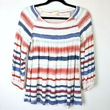 Anthropologie Meadow Rue Striped Smocked Peasant Boat Neck Top Womens Size S