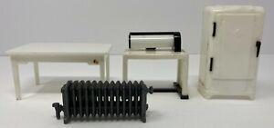 Vintage Lot 4 Renwal Dollhouse Miniature Ice Box Table Radiator & Butcher Table