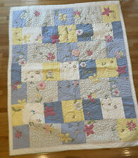 Pottery Barn Kids Floral Patchwork Quilt Pink/Blue/White Gingham 88x67