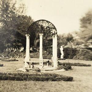 Vintage Black and White Photo Garden Gazebo Arch Library Park Bushes Trees