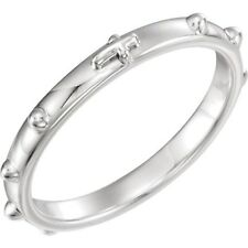 Rosary Ring in 10K White Gold, 2.5mm width, Size 7.0
