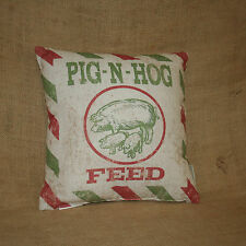 Pig N Hog Feed Decorative Throw Pillow Primitives by Kathy