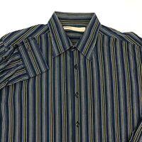 Perry Ellis Button Up Shirt Mens Large Blue Black White Tan Long Sleeve Stripe