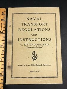 USS Kroonland Regulations with Pasted in Revisions Edits Navy Book 1919 WW1 Ship